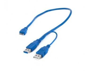 Кабель 2хUSB 3.0(m) - micro USB 3.0(m), Y-кабель (Для подключения жестких дисков) в Алматы.