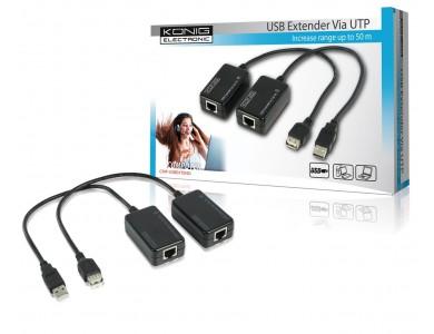 Купить в Алматы USB Extender KONIG (удлинитель USB сигнала до 50м. без установки драйверов)