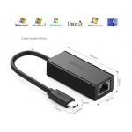 Адаптер с USB Type C на LAN (Внешняя USB 3.1 —100Мбит/с сетевая карта) UGREEN