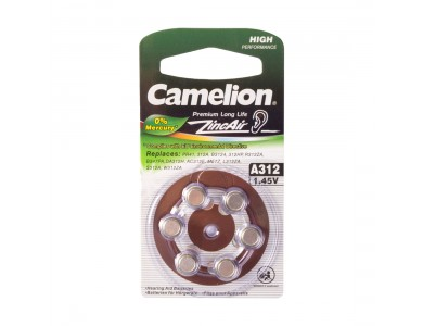 Батарейка Camelion, A312-BP6, Zinc Air, A312, 1.45V, 6 шт.