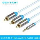 Кабель аудио-видео Jack(m) 3.5mm - 3RCA(m), 1.5m., Vention