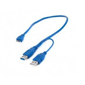 Кабель 2хUSB 3.0(m) - micro USB 3.0(m), Y-кабель (Для подключения жестких дисков)