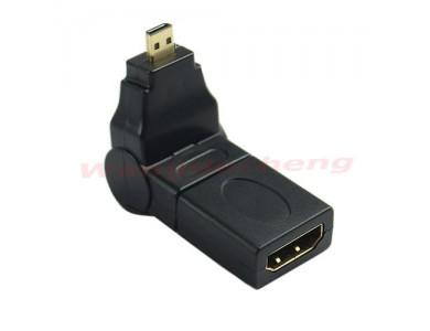 Купить в Алматы переходник HDMI(f)-micro HDMI(m) с вращением на 360°