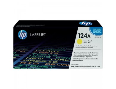 Купить картридж HP Q6002A, 124A в Алматы. Цена: 17000тг. Ресурс: 2000 страниц формата А4 при 5% заполнении. Совместимость: Color LaserJet 1600, 2600, 2605, CM1015MFP