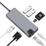 Конвертер USB 3.1(m) Type C на HDMI/VGA/LAN/USB 3.0 HUB 2 port