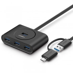 USB 3.0/Type C 4 port HUB, 1m UGREEN