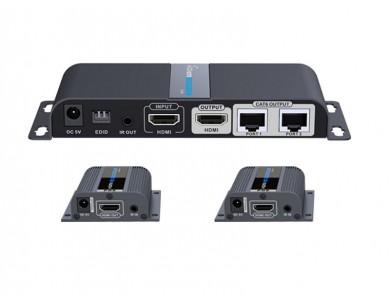 LenKeng LKV712Pro (удлинитель HDMI до 40м, UTP, сплиттер, EDID)