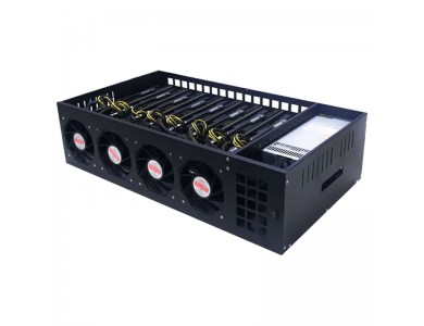 Корпус для майнинга в сборе материнская плата на 8 видеокарт, CPU, DIMM, SSD, БП
