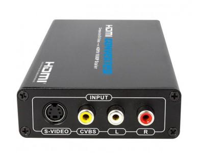 Конвертер с AV+S-Video на HDMI, активный c блоком питания