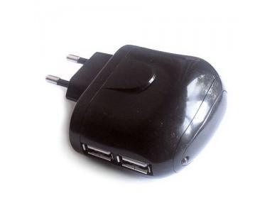 Адаптер Евровилка 220V на 2 USB -  зарядка для iPhone и Android