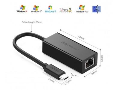 Конвертер с USB 3.1(m) Type C на LAN (Внешняя USB 3.1 —100Мбит/с сетевая карта) UGREEN