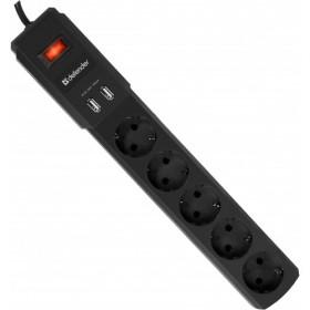 Сетевой фильтр Defender DFS 453 (5 розеток, 2 USB порта, 3м)