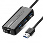 Конвертер USB 3.0 на LAN RJ-45,10/100/1000 Mbps + USB HUB 3 port, 0.2m UGREEN