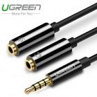 Кабель адаптер 2*Audio(f) 3.5mm - Audio(m) 3.5mm (UGREEN)