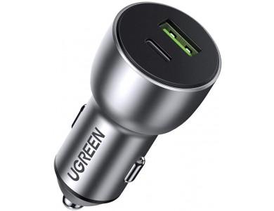 Адаптер автомобильная зарядка QC3.0, 36W (USB-C+USB-A) UGREEN