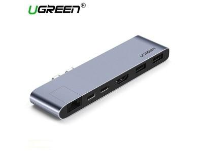 Конвертер двойной USB 3.1(m) Type C на 2xUSB 3.0/HDMI/RJ45/USB Type C/Thunderbolt 3 UGREEN