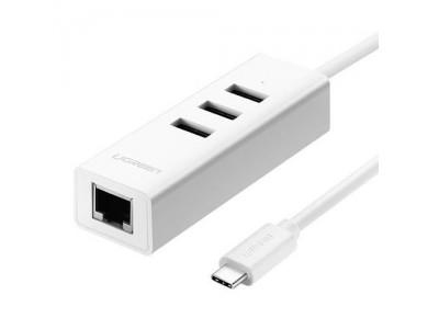Конвертер USB 3.1(m) Type C на LAN RJ-45,10/100 Mbps + USB HUB 3 port, 0.2m UGREEN