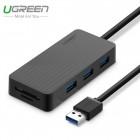 USB 3.0 3 port HUB + кардридер, 0.3m (UGREEN)