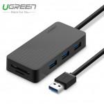 USB 3.0 3 port HUB + кардридер, 1m (UGREEN)