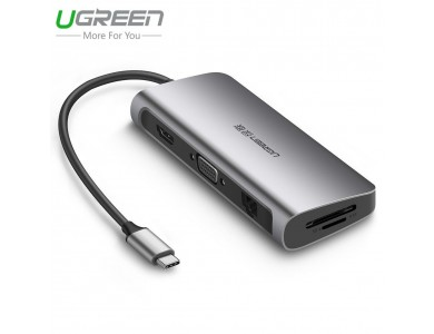 Мульти - конвертер USB 3.1(m) Type C на HDMI/VGA/LAN/CardReader/USB 3.0 HUB 3 port (UGREEN) в Алматы