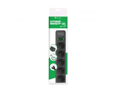 Сетевой фильтр iPower, iPEO5S, 5 розеток, 1.8 м., 220-240V, 10A, Чёрный