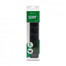 Сетевой фильтр iPower, iPEO3m, 6 розеток, 3м., 220-240V, 10A, Чёрный