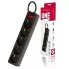 Сетевой фильтр Smartbuy One, 10А, 2 200 Вт, 5 розеток, длина 1,8м, черный