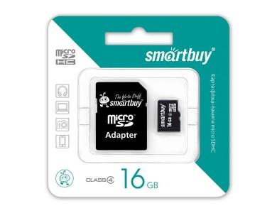 Карта памяти microSDHC с адаптером SmartBuy 16GB (class 10) в Алматы