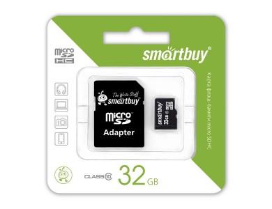 Карта памяти microSDHC с адаптером SmartBuy 32GB (class 10) в Алматы
